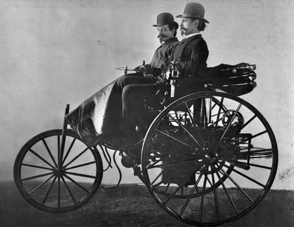 Carl Benz in his Benz Patent Motorwagen