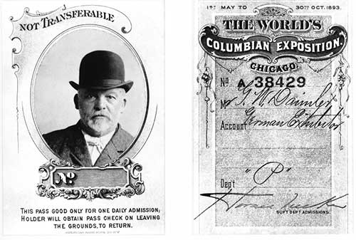 Gottlieb Daimler's exhibitor passes for the 1893 World Expo in Chicago, USA.;