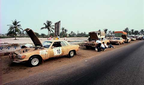 Team Mercedes Benz at Bandama Rally Race of 1979